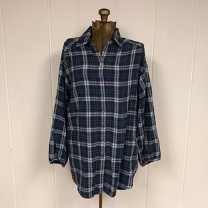 Vince blue oversized flannel tunic size small